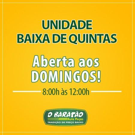 O BARATÃO AUTO PEÇAS BAIXA DE QUINTAS ABERTO TAMBÉM AOS DOMINGOS!